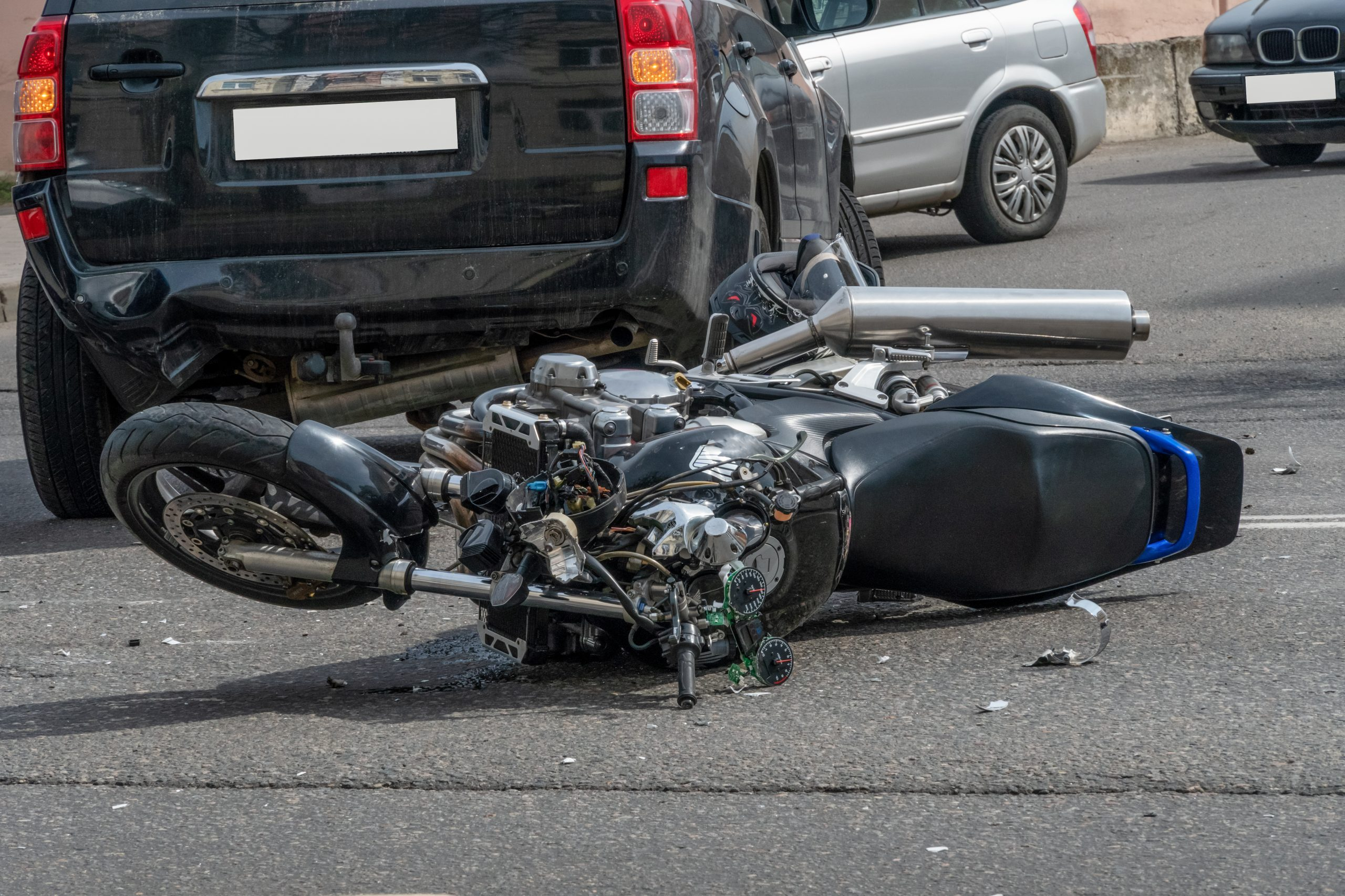 Motorcycle accident on roadway